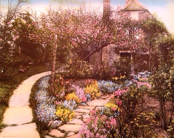 Wallace Nutting Print Cottage Chic Shabby Chic Colored Photographic Print Cottage Scene Cottage Garden Home Decor