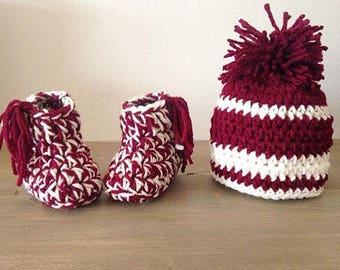 Custom Crochet Baby Booties and Snow Hat Set