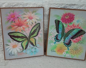 Vintage Butterfly Pair By K Chin