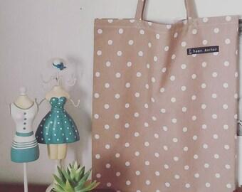 Tote bag owls, polka dots.
