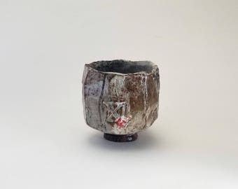 "Carbon Trap Shino Matcha Tea Bowl with Stamp Texture Handcrafted Stoneware Chawan Quasi Woodfired Yunomi ""Double Crossed Snow"" Ready to Ship"