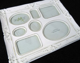 White Ornate Collage Picture Frame~Display 7 Pictures~Vintage Style Shabby Chic~Nursery Baby Wedding Photos Cottage Chic Victorian Decor
