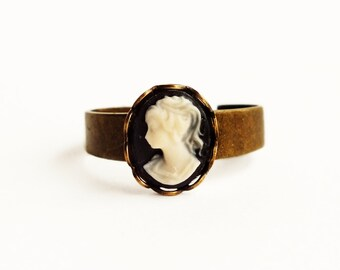 Small Black Cameo Ring Victorian Cameo Jewelry Black Stacking Ring Antique Brass Adjustable Ring Victorian Jewelry