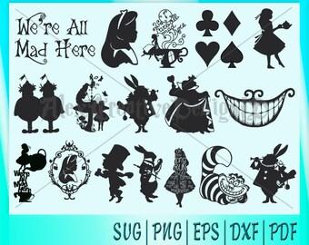 17 Alice in Wonderland Clipart/Alice in Wonderland svg/Alice in Wonderland Silhouette/Alice in Wonderland Cricut/Alice in Wonderland Lazer