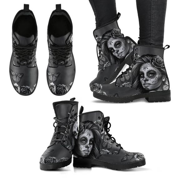 Free Boots Sugar Dead Boots Dia Shoes Skull Gothic Muertos Boots Day The Friendly Sale Of Custom De Los Leather Skull Shoes Shipping Eco ITqwFTr1x