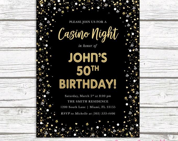 Casino Night Invitation, Casino Night Invite, Casino Invitation, Casino Birthday Invitation, Adult Birthday Invitation, Las Vegas Invitation