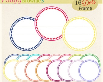 ON SALE, dots circle frame clipart ,circle frame clip art,  instant download, Round Scalloped frame, digital scrapbooking clip art, A-253