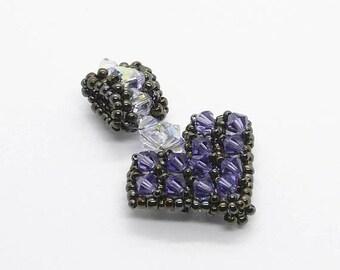 Crystal Beaded Heart Pendant Lavender - Prima Donna Beads