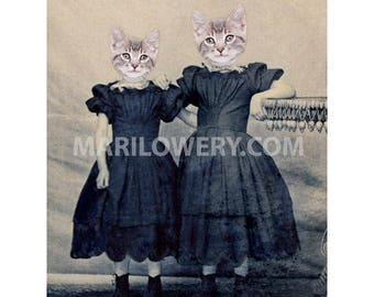 Animal Portrait Art, Cats in Clothes Art, 8 x 10 Inch Print, Sisters Gift, Collage Print, Animals in Dress, Anthropomorphic Art, frighten