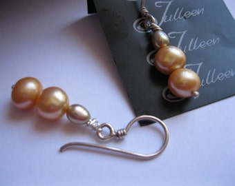 Apricot Theme, Bridesmaid Pearl and Sterling Silver Earrings by Julleen Pearls