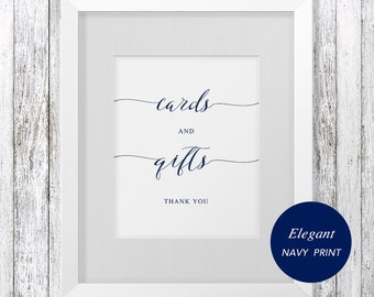 Cards and Gifts Sign, wedding sign Printable, Gift Table Sign, Wedding Printable, instant download, DIY, Modern Navy Wedding, #SPP008cg