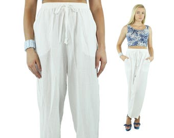 Vintage 80s White Cotton Gauze Pants High Waisted Trousers Elastic Waist Slacks 1980s Medium M Wide Leg