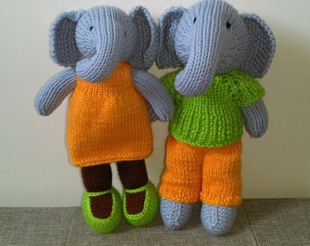 2 Cute plush Elephants Girl and Boy/Knit Elephant Toys/Knitted Toys/ Stuffed Animal Toys