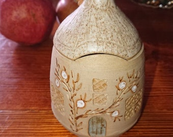 Thatached cottage stoneware honey pot. Country home.