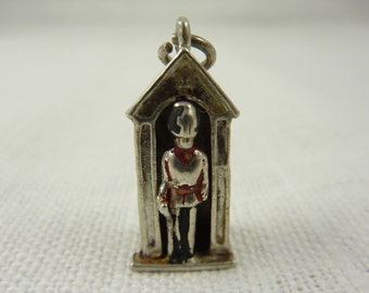 Vintage Sterling Painted Royal Guard Large Charm