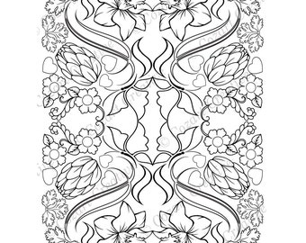 Adult coloring page, kaleidoscope, flower, butterfly, swirl, hops, daffodil, floral .  Spring Flowers. PDF