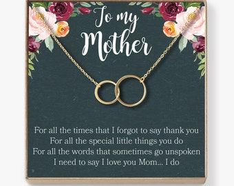 Mother Necklace: Mom Necklace, Mom Gift, Mother's Day Gift, Mother's Day Necklace, Mother Daughter Gift, 2 Asymmetrical Circles