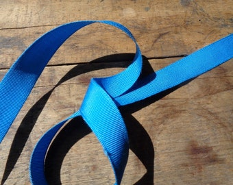 Vintage Supplies • By the Yard: Gros Grain Medium Blue Ribbon | Grosgrain Cotton Rayon Edge Edging Sewing Scrapbook Fiber Craft Art | USA