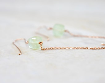 prehnite cube earrings. cubes and rose gold chain. prehnite dangle earrings. pale green earrings with rose gold chain. prehnite jewelry