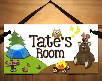 Camping DOOR SIGN Boys Bedroom Nursery Wall Art Decor DS0047