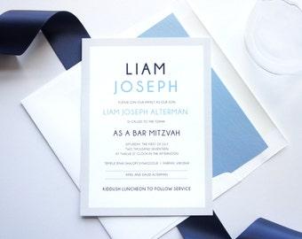 Custom Bar Mitzvah Invitations, Bar Mitzvah Invitation, Blue Invitations, Bat or Bar Mitzvah Invitation Set, Printed Invitations - Deposit