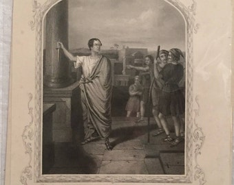 Steel Engraving Print -  'Macready as Brutus' - Antique Print of Engraving by Alexander Reid