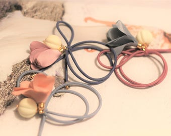 3 Colors/Fabric Flowers/ Ponytail Holder/ Hair Elastic Band/ Hair Rubber Band