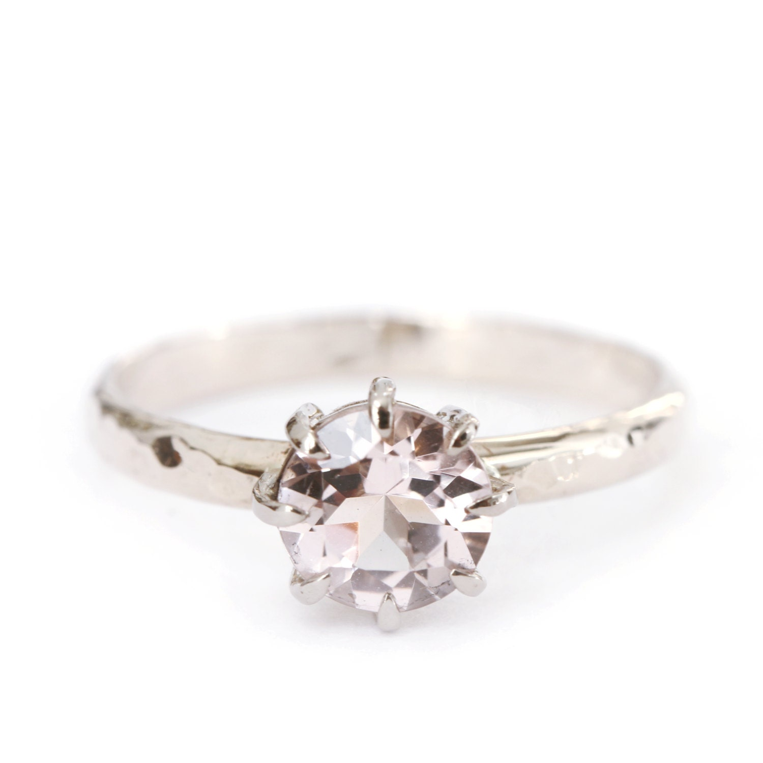 Greatest Hammered ring morganite - 18ct grey gold - engagement ring  DL35