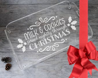 "Laser Engraved Acrylic Tray, Milk and Cookies, Rectangle Butler Tray 16"" x 12"", Christmas Gift, Hostess gift, Tray with handles"