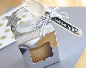 Twinkle Little Star Birthday Favors - Twinkle Little Star Baby Shower Favor Box Silver Favor Boxes - Silver Party Favors (EB3060) set of 12