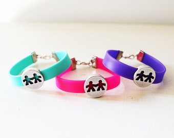 Friendship bracelets, Besties bracelets, Friendship bracelet set, pink arm candy, Rubber bracelet, Holding hands bracelet, Cute friendship