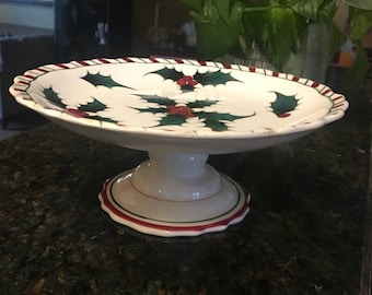 Lifton's Holiday Holly Cake Plate