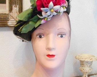 1940's Black Shiny Straw Tilt Hat with Flower Embellishment