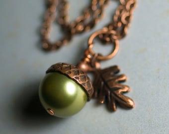 "Green Swarovski Crystal Pearl Acorn Oak Leaf Necklace Antiqued Copper Wrapped Pendant Apple Green Autumn Fall - ""Ginger Gold"""