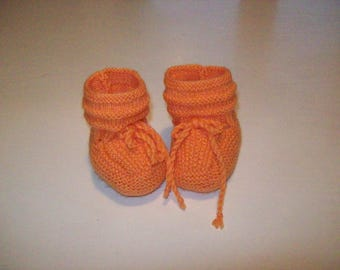 booties for baby, newborn to 3 months, orange color