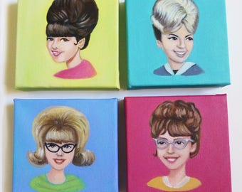 Vintage portrait paintings. Dee,Jan,Becky and Susan.  Four sassy big haired girls from the 1960's.