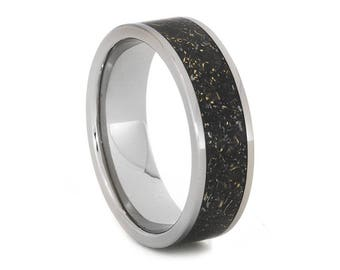 Black Stardust Wedding Band, Titanium Ring Inlaid With Meteorite And Yellow Gold Shavings in Enamel, Galaxy Jewelry