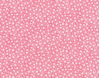 Tiny White Flowers All Over on Strawberry Pink, Sew and Sew, Chloe's Closet, Moda (By YARD)~