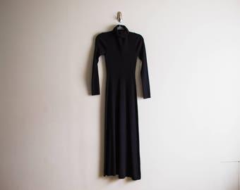 Vintage Black Knit Sweater Maxi Dress