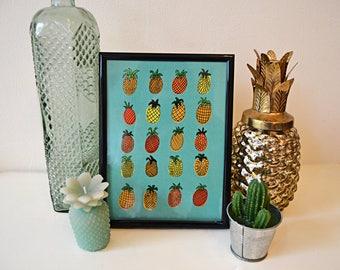 Pineapples A5 Art Print - Tropical Fruit Print - Pineapple Artwork