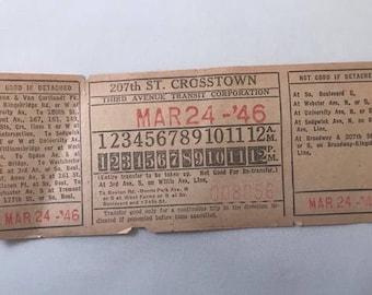 1946 New York Transit Ticket / March 24, 1946 / 207th St. Crosstown