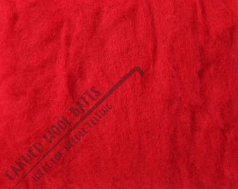 Red Colour Carded Wool Batts For Needle Felting 5g 10g 20g | 100% Sheep Wool | Bright Red For Valentine's Hearts, Christmas and Santa Clause