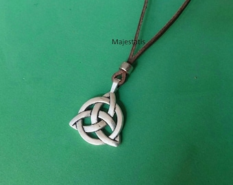 Celtic necklace etsy genuine leather celtic necklace ajustable leather necklace celtic trinity knot pendant womens mens leather necklace mozeypictures Gallery