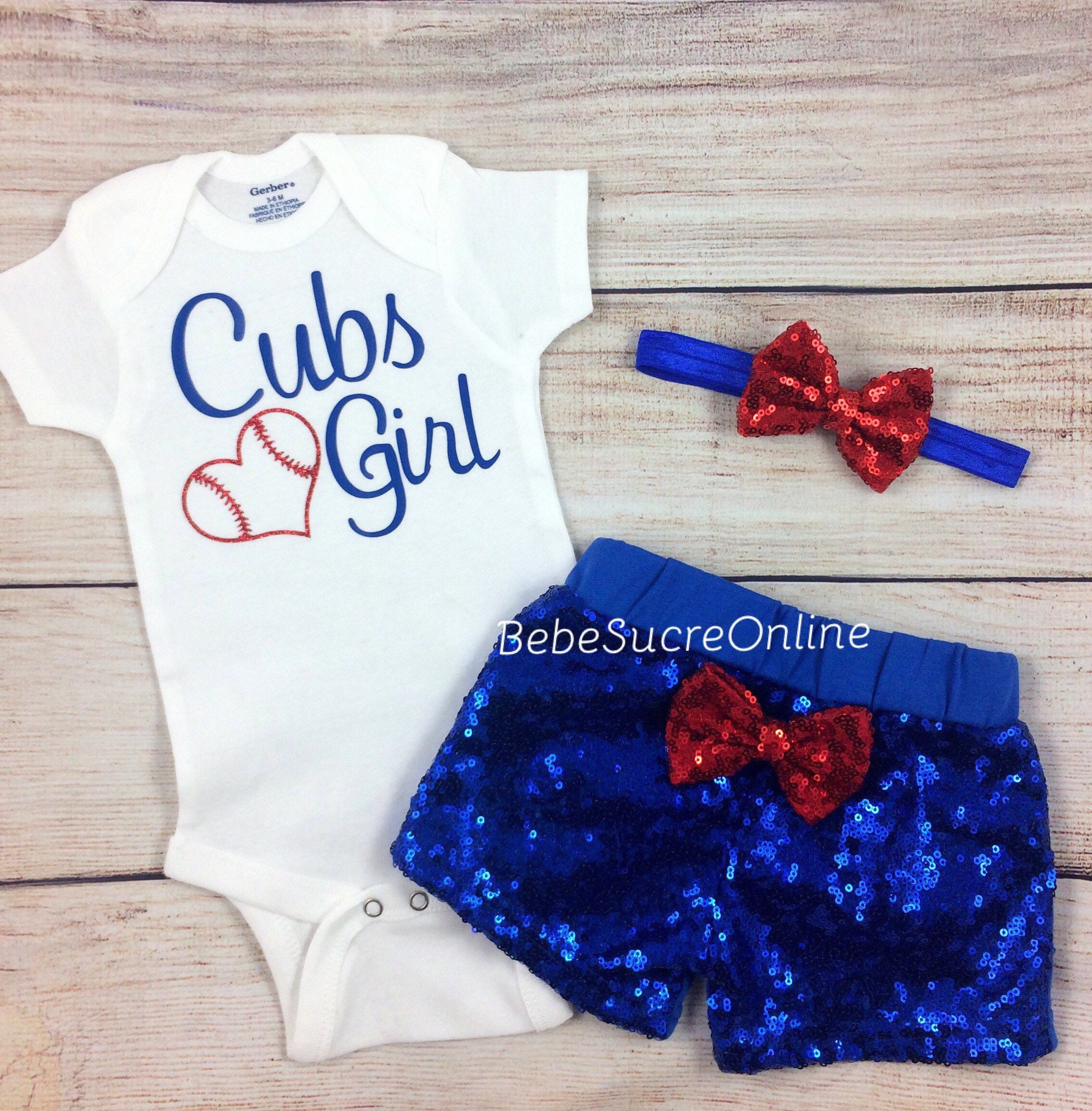 Chicago Cubs Baby Girl Game Day Outfit Cubs Girl Bodysuit