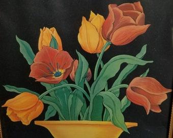 Jean Beasley Gold Framed Tulips Print