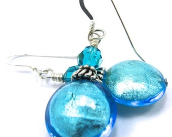Teal Blue Venetian Glass and Swarovski Crystal Earrings, Sterling Silver Earwires, Free US Shipping