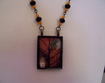 Vintage-style HALLOWEEN NECKLACE - Ceramic Owls