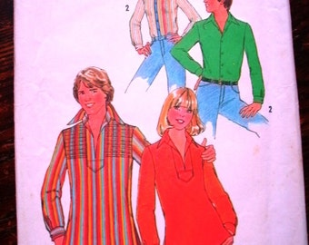 Simplicity 7823 Printed Pattern ~ Size 40 ~ 1976 Men's Shirt And Pullover Top