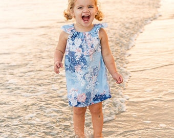 Clothing Gift, Toddler Girls Dress, Baby Girl Dress, Baby Dress, Toddler Dress, Blue Dress, Floral Dress, Baby Gown, Birthday Dress