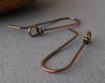 Rustic Copper Handmade Ear Wires, Long Wild West Earring Findings